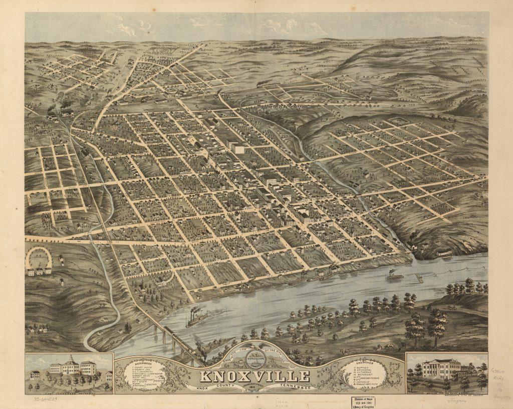 Knoxville Land Surveying background - Birdseye View 1871